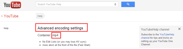 YouTube encoding settings