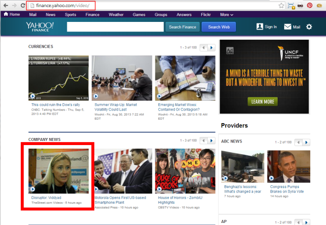 Viddyad Yahoo Finance Video Hompage