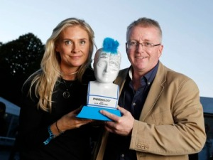 Grainne Barron with John McKiernan and the Spark of Genius trophy