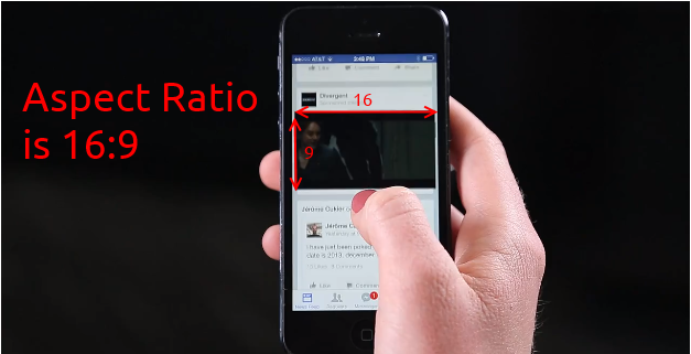 Facebook Video Ad aspect ratio estimated to be 16:9