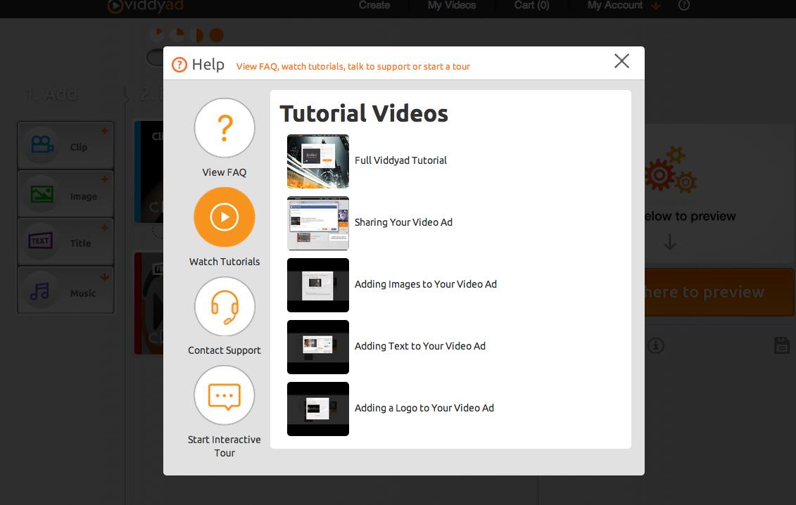 Tutorial videos menu