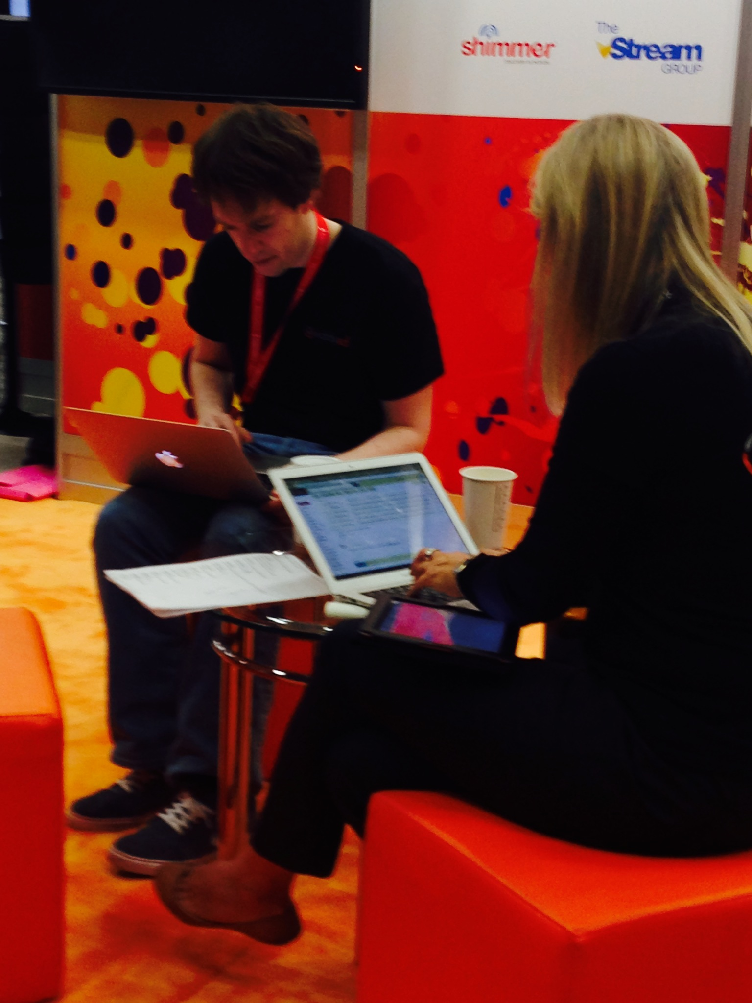 CEO Grainne Barron and one of our software engineers Kevin getting some work done