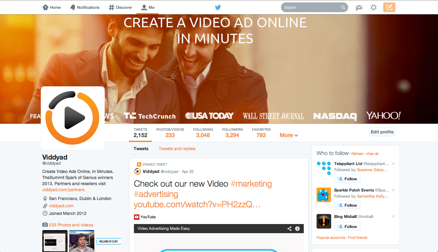 Viddyad Twitter page banner