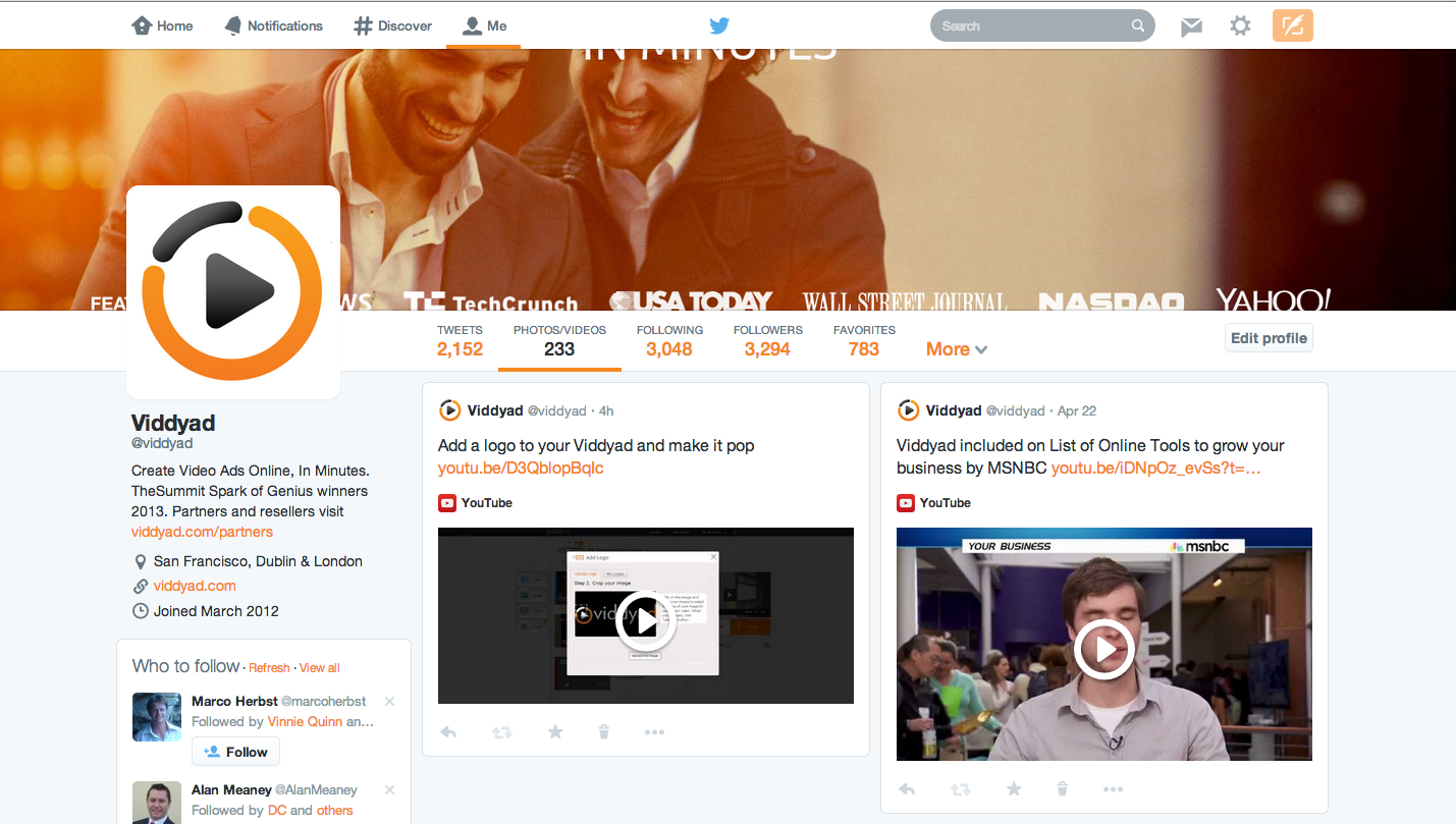 Viddyad Twitter page with banner and videos
