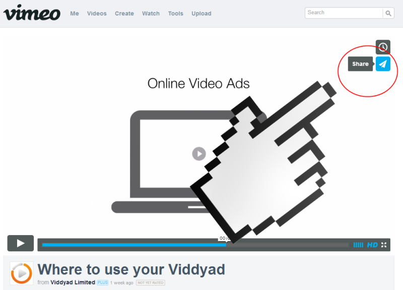 Vimeo share and embed