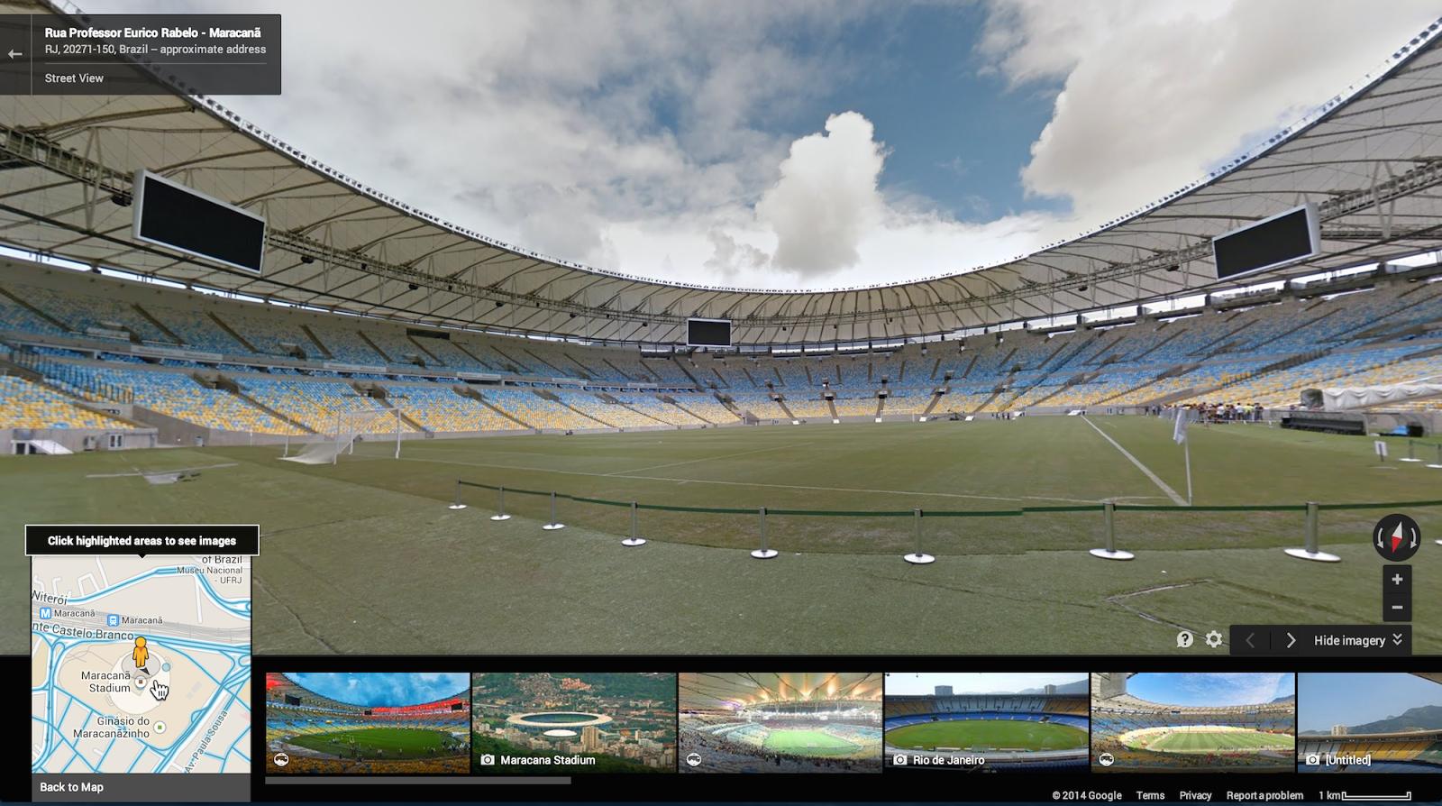 Google Maps view of World Cup stadiums - Maracana