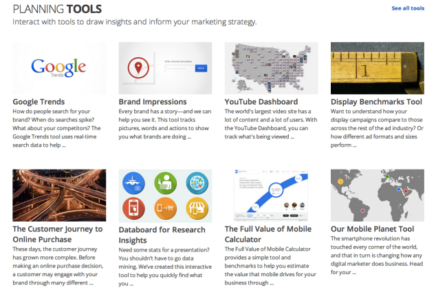 Planning tools for Google marketing