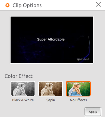 Clip Options on Viddyad