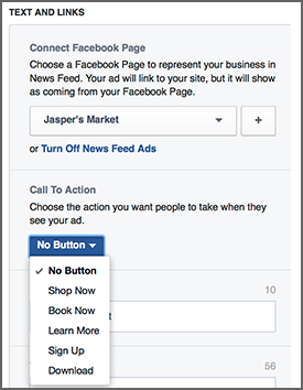 Facebook ad text and links call to action
