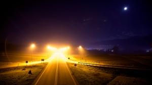 Highway lights night